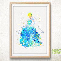 Princess Cinderella - Watercolor, Art Print, Home Decor, Wall Art, Gift for her, Watercolor Print, Disney Poster