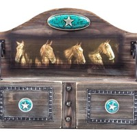 Wooden Western Shelf with Horses & Drawers | Shop Hobby Lobby