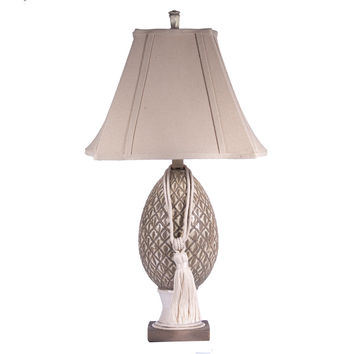 Gray Washed Ceramic Pineapple Lamp