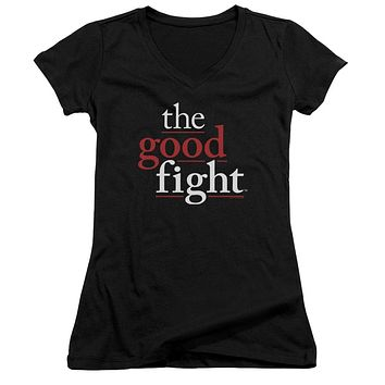 The Good Fight Juniors V-Neck T-Shirt Logo Black Tee