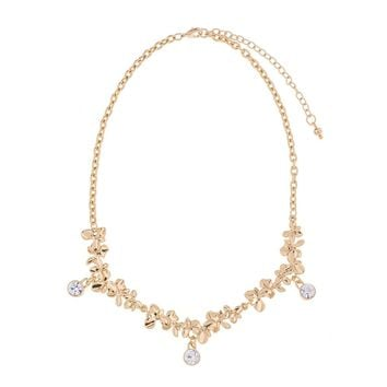18 karat gold-plated statement necklace with carved floral design and crystal stones for shimmering effect 42CM Ext 8CM