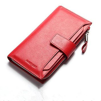 HAUTTON Womens Large Capacity Luxury Genuine Leather Clutch Wallet Credit Card Holder Ladies Purse