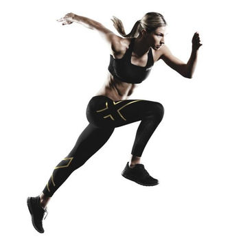 Sport 2XU Women Compression Tights Black Blue Trousers Breathable Superelastic Joggers Marathon Running Fitness Leggings