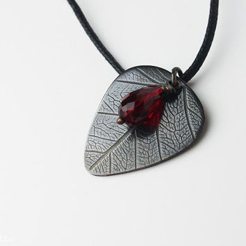 """Guitar gifts for her, girl, woman, mom - Custom guitar pick necklace  - for girl -  """"Classy-Pick"""" brand - with organic leaf pattern - medium"""