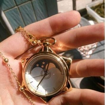 Sailor Moon Pocket Watch Crystal Tuxedo Mask Cosplay Necklace Star Locket Watches
