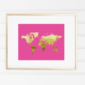 Hot Pink Gold Foil, World Map, Wall Decor, Office Decor, Trendy Wall Art, Gallery Wall, Home Decor