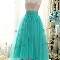 Free Shipping !!!Custom Make Junior Bridesmaid Dress Beaded Straps Mint Tulle Skirt Flower Girl Prom Wedding Birthday Party Dress(Z1046)