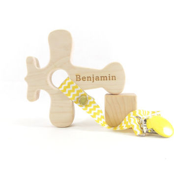 Wood Baby Teether -PERSONALIZED Airplane Baby Toy - Maple, Organic, Natural, Safe Wooden Toy