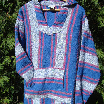 90s Rag Pullover Hoodie Blue Pink White Size Medium 80s Hippie Festival Clothing Vintage Pullover Boho