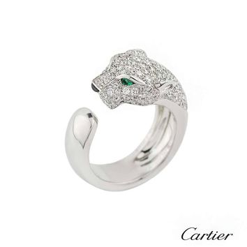 Cartier Panthere Onyx Emerald Diamond Gold Ring