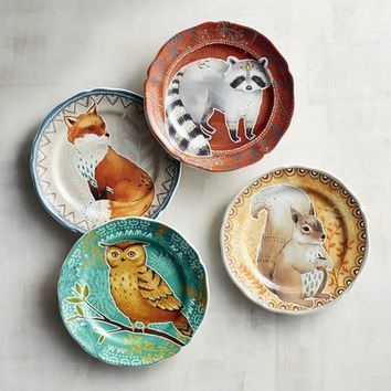 Autumn Splendor Critters Salad Plate Set