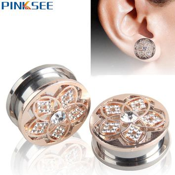 1Pair Stainless Steel Round Flesh Tunnel 12-20mm Hollow Out Rhinestone Flower Ear Plugs Expander Gauges Body Piercing Jewelry