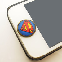 1PC Retro Epoxy  Supper Man Transparent Time Gems Alloy  Cell Phone Home Button Sticker Charm for iPhone 4,4s,4g,5,5c
