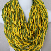 Green and Yellow Arm Knitted Infinity Scarf Green Bay Themed Scarf Womens Knitted Scarves Girls Fall Fashion Knit Scarves