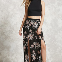 M-Slit Bird Print Maxi Skirt