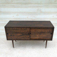 Mid Century Modern Record Player Cabinet Media Table TV Stand Entertainment Cabinet w/Sliding Doors MCM Chocolate (or custom color)