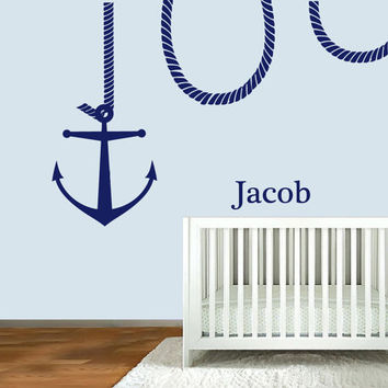 Wall Decal Vinyl Sticker Decals Art Decor Design  Custom Name Baby Letter Anchor Symbol Nautical SaliorNirsery  Kids Rope Bedroom (r1178)