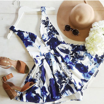 Blue & White V-Neck Romper