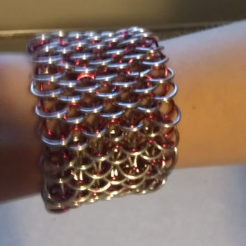 Dragon Scale Chainmaille Bracelet Cuff Hand Made