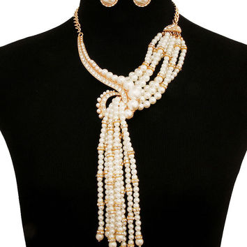 Gold FAUX PEARL RHINESTONE HOOK LINK CHAIN Statement Necklace & Earrings Set