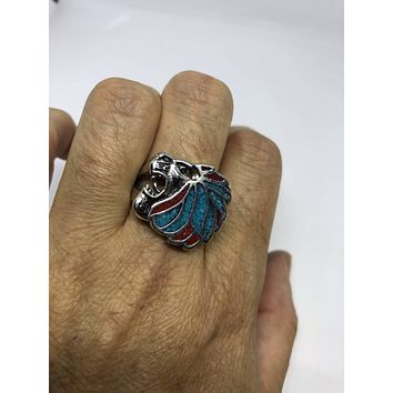 Vintage 1980's Gothic Silver Stainless Steel Lion Head Men's Ring