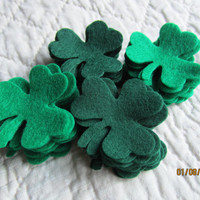Green Felt Shamrock - Small Size- 50 Die Cut Felt Shamrocks-DIY Crafts-Clover Shapes-DIY Felt St. Pats Kit