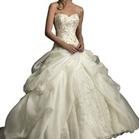 Lttdress Women's Sweetheart Formal Ball Gowns Wedding Dresses White Ivory