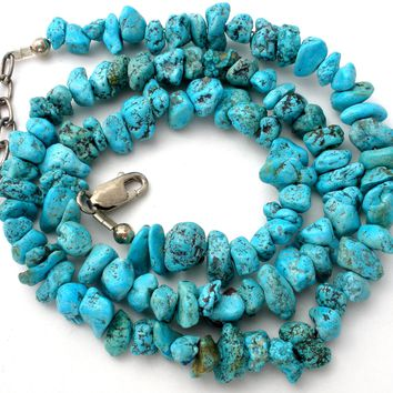 Vintage Turquoise Nugget Bead Necklace 925