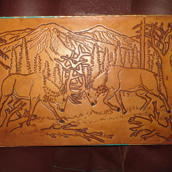vintage Hand carved Leather art Picture, Elk in woods Leather Hand Tooled Picture,  Elk Leather Picture 18 x 12