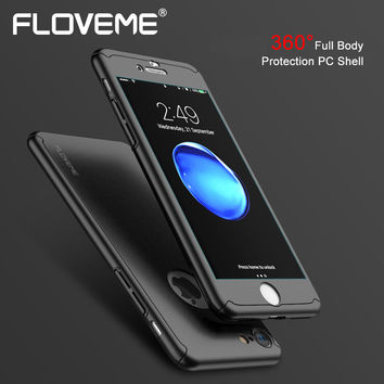 FLOVEME Classic Slim Case For iPhone 7 Plus Case 360 Full Coverage For iPhone 7 Phone Covers i 7 Fundas Tempered Glass Logo Hole