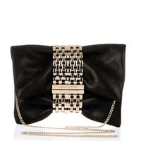 Chandra S black shimmer suede clutch <strong>Jimmy Choo</strong> - Designer Shoes at ShopSavannahs.com