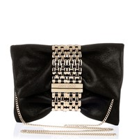 Chandra S black shimmer suede clutch Jimmy Choo - Designer Shoes at ShopSavannahs.com