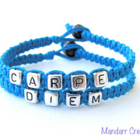 Carpe Diem, Turquoise Handmade Hemp Jewelry with Silver Tone Letter Beads, Seize the Day