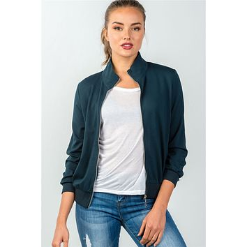 Women's casual fall winter fashion style jackets forest green one striped sleeve track zip-up jacket