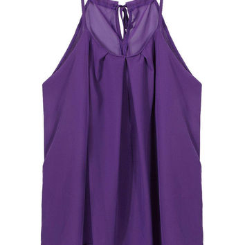 Purple Chiffon Vest with Self-tie Strap