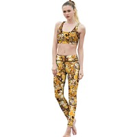2017 Yellow butterfly womens activewear sets Yoga suit sportswear High rise tracksuit racer athletic legging factory direct sale