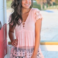 Blush V-Neck Top with Crochet Detail