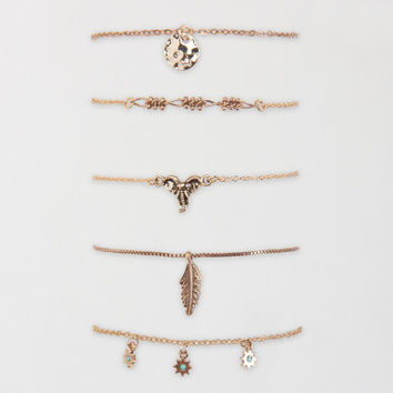 Antiqued Chain Bracelet 5-Pack - Aeropostale
