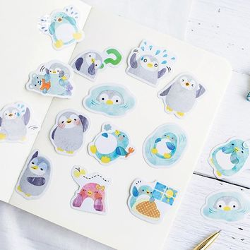 45 Pcs/pack Candy Poetry Penguin Mini Paper Seal Sticker Decoration Label Sticker Office School Stationery