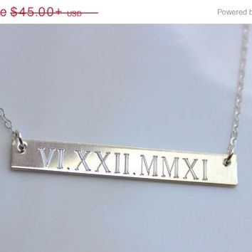 VALENTINES DAY SALE Wedding Date Necklace Sterling Silver Gold bar Roman Numeral Personalized necklace Nameplate Engraved Horizontal Gold Ba