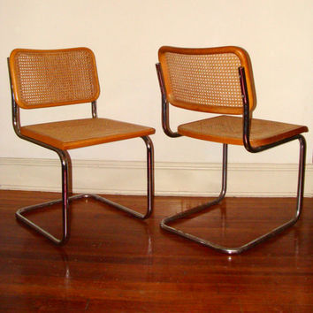 Set of Vintage Cesca Style Cantilever Dining or Kitchen Chairs Cane and Chrome 1960's Made in Italy
