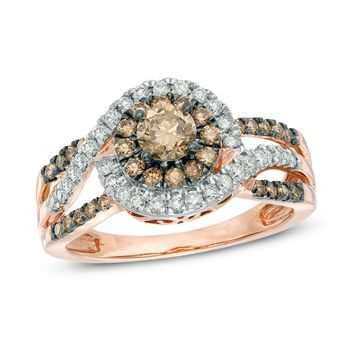 1 CT. T.W. CHAMPAGNE AND WHITE DIAMOND CLUSTER FRAME ENGAGEMENT RING IN 10K ROSE GOLD