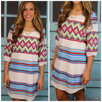 Amarillo Springs Ivory Aztec Dress