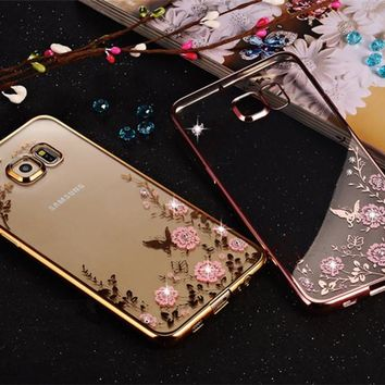 Diamond Flowers Pattern Back Cover Soft Bling Phone case Samsung Galaxy