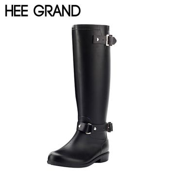 Rain Boots Women 2016 Rubber Knee High Boots Spring Autumn Buckle Black Brown Riding B
