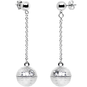 Officially Licensed Steel Star Wars Death Star Stud Dangle Earrings
