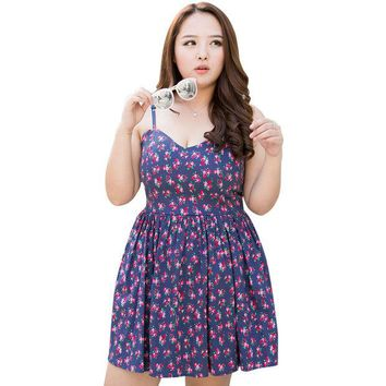 DCK9M2 4XL Summer Women Plus Size Sweet Cute Floral Sexy Bandage Stretch Cotton Strap Dress Wraps Bust Pleated Sundress Free Shipping