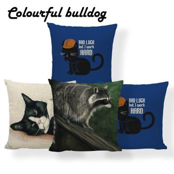 Cat Raccoon Pumpkin Cushion Cover Mouse Halloween Pillowcase Farmhouse Sofa Decora Lumbar Support Throw Pillow Cover Large Linen
