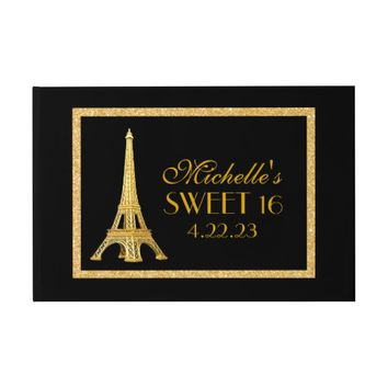 Paris Sweet 16 Gold Glitter Custom Guest Book