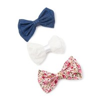 Floral Print, Lace and Denim Mini Bow Hair Clips Set of 3 | Claire's